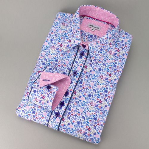 Grenouille Ladies Long Sleeve Blue and Pink Doodle Flower Print Shirt